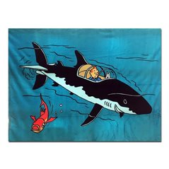 Tintin Magnet: Tintin reading the newspaper with Snowy (Moulinsart 16023)