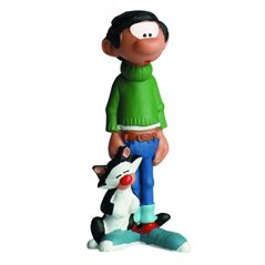 "Smurf Statue Resin: Smurf with sign ""MOI, JE N'AIME PAS LES J'AIME PAS !"" (Plastoy 143)"
